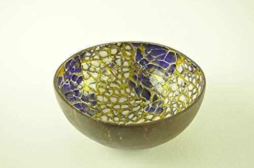 Bol de Noix de Coco, Bol en Bois Fait Main, Bol en Bois Rond Naturel laqué Brillant incrusté de Coquille d'œuf décoratif, Or Violet, H068