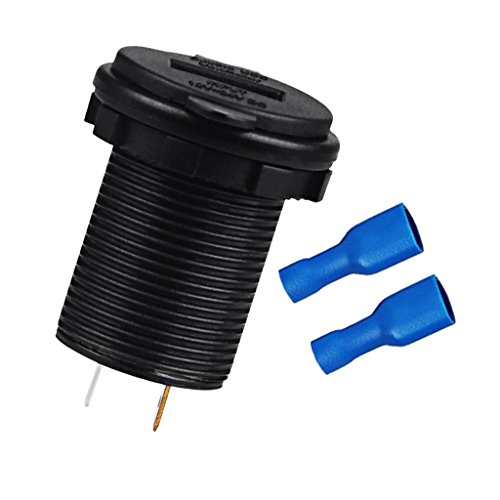 MagiDeal 12-24V Double USB Voiture Chargeur Rond Socket LED Voltmeter Adaptateur - Lumière Blue