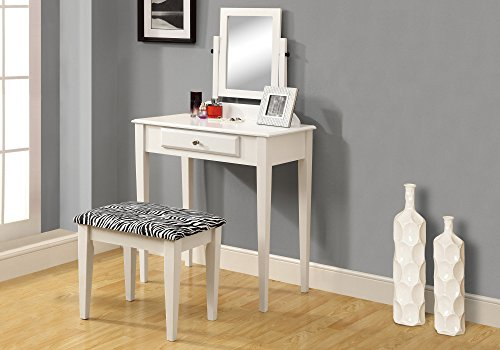 Monarch Specialties 2-Piece Vanity Set with a Zebra Fabric Stool, White