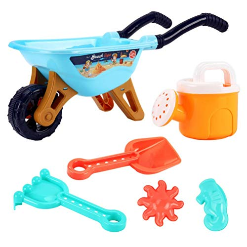 Juego de 6 carretillas de juguete para la playa del coche o la playa para niños con pala, regadera, rastrillo, pala para verano, playa, fiesta, juguete