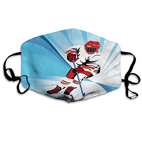 MundschutzMundAnti-Staub-Abdeckung,Hockey Player Makes a Strong Shot on Goal Rival Illustration Abstract Backdrop,MouthCverWiederverwendbareFack-Abdeckung