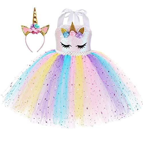 MYRISAM Costume di Carnevale Abito Tutu Unicorno Arcobaleno per Bambina Principessa Vestito da Festa di Compleanno Natale Halloween Cosplay Cerimonia Festa Abito con Cerchietto 8-9 Anni
