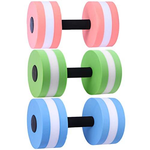 Wakauto 3 Stück High-Density-Eva-Foam-Hantelset Wassergewicht - Weich Gepolstert - Wassergymnastik Aquatherapie Pool-Fitness Wasserübungen (Grün + Pink Weiß + Blau Weiß)