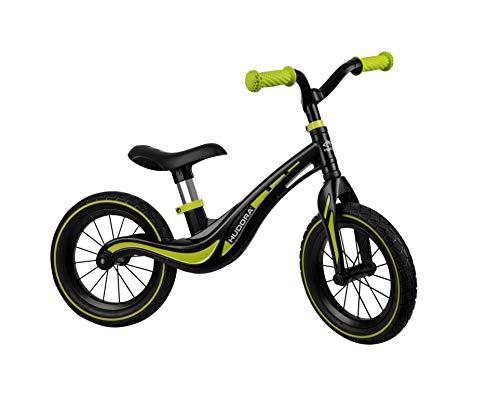 HUDORA 10372 Magnesium Kinder Laufrad Air, Schwarz/grün | Ab 3 Jahre | 12 Zoll mit Luftreifen | Für Jungen und Mädchen
