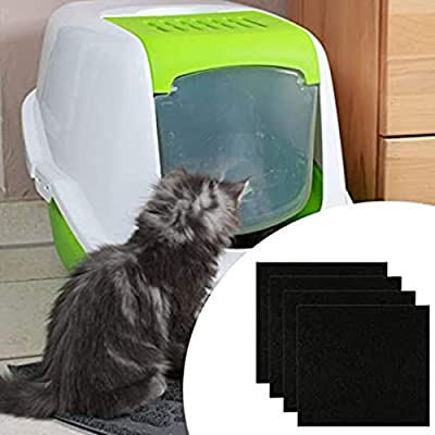 DUJIAOSHOU 4 Pcs Replacement Filter for Cat Litter Box Square Shape Carbon Filters for Hooded Cat Litter Tray Toilet Litter Pans Replacement Filters Odor Filters