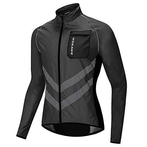 WOSAWE - Chaqueta de ciclismo para hombre, ligera, impermeable, alta visibilidad para motocicleta, bicicleta, carreras (BL218 negro M)