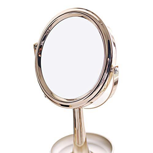 JINBAO Espejo de Maquillaje el Escritorio se Puede 00Almacenar Bandeja de Joyas Espejo de Tocador 1: 3 Veces Espejo de Doble Cara Dorado 11.22 * 4.65 Pulgadas