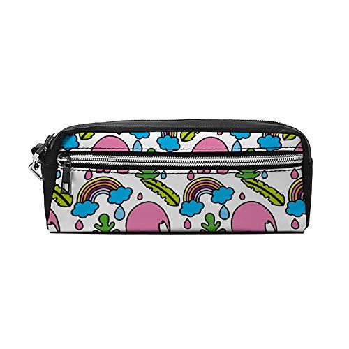 Kleur Olifant met Bladeren en Regenboog Cloud PU Lederen Potlood Case Make-up Bag Cosmetische Tas Potlood Pouch met Rits Reizen Toilettas voor Vrouwen Meisjes