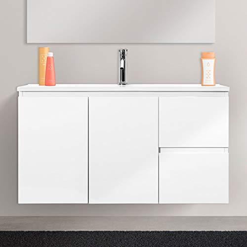 Mobile Bagno Sospeso in Legno Vaduz Salvaspazio con 2 Ante E 2 Cassetti Design Moderno con Lavabo in Ceramica Mobiletto Arredamento per Interni Arredo, 90 x 36 x 50 Cm Colore Bianco Laccato