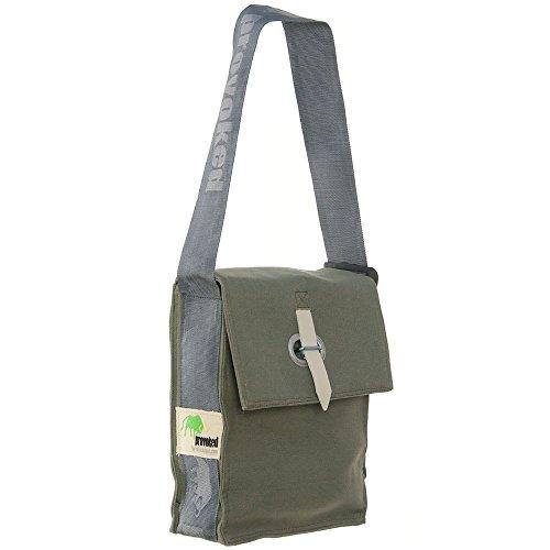 HAB & GUT -E5026A-O- PROVOKED City Bag, aus Segeltuch mit Verschlusslasche olivgrün 25 x 31 cm