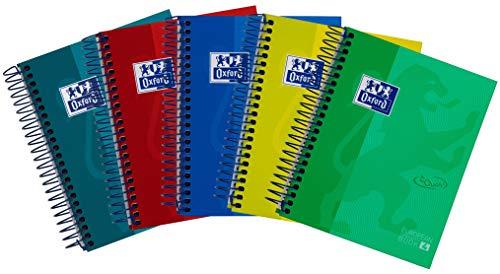 Oxford European Book 4, Notizbuch A6, 120 Blatt, kariert, sortiert, 5er Pack