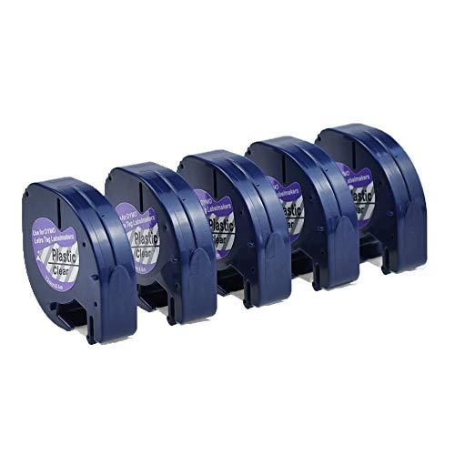SZEHAM 5 X 12267 Poliester Transparente Cinta Compatible de DYMO 12mm Letratag S0721550 Etiquetas de plástico Tape Cartucho para LT-100H LT-100T XR XM Etiquetadora