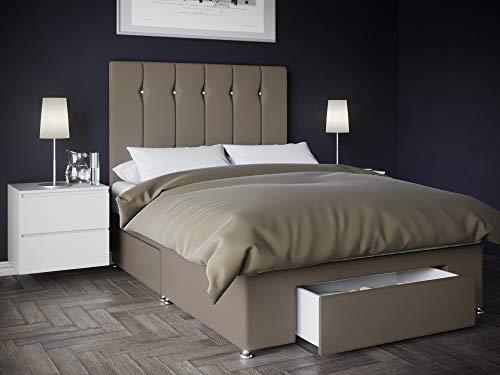 Bed Centre Kano Silver Plush Divan Set With Sprung Memory Foam Fibre Mattress, 1 End Drawer And Headboard (Super King (180cm X 200cm))