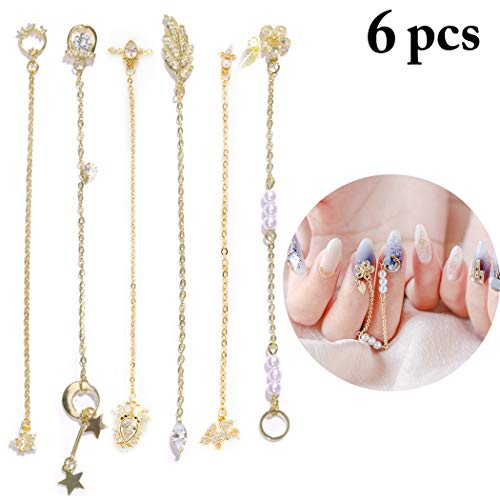 FunPa FunPa 12st 3D spijkers verzorgingsbouten goud nail art decoraties bedels metalen juwelen bouten strass legering ketting manicure DIY art decoratie nail art supplies C