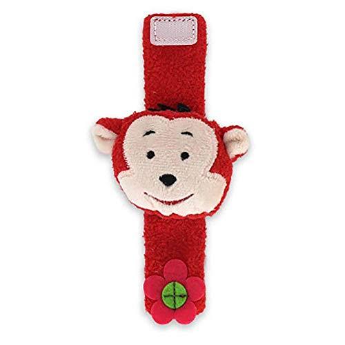 Da.Wa Infantil Piezas Animal del Bebé de la Muñeca de la Muñeca Traqueteos Correa de Muñeca Suave Juguete Educativo para Bebés (Rojo Mono)