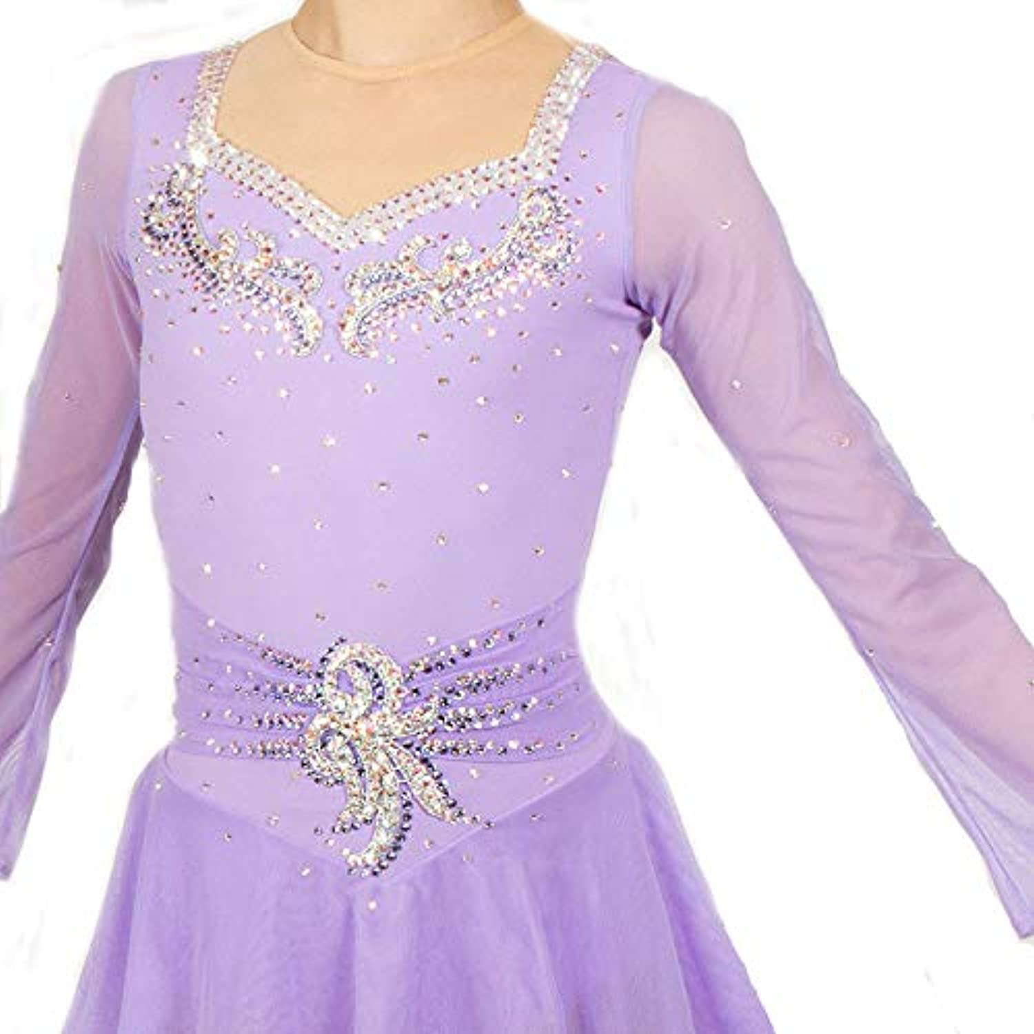 Heart&M Ice Skating Dress For Girls And Adult, Handmade Figure Skating Competition Performance Costume Crystals Long Sleeved Purple