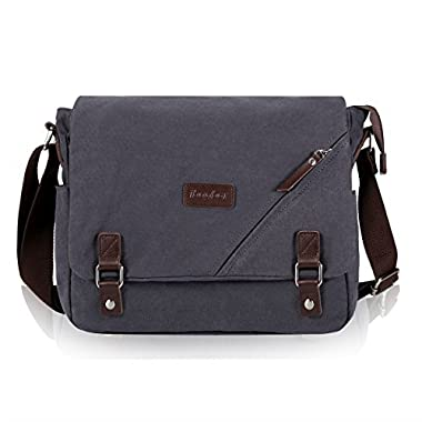 ibagbar Canvas Messenger Bag Shoulder Bag Laptop Bag Computer Bag Satchel Bag Bookbag School Bag Working Bag for Men and Women (Dark Gray Large)