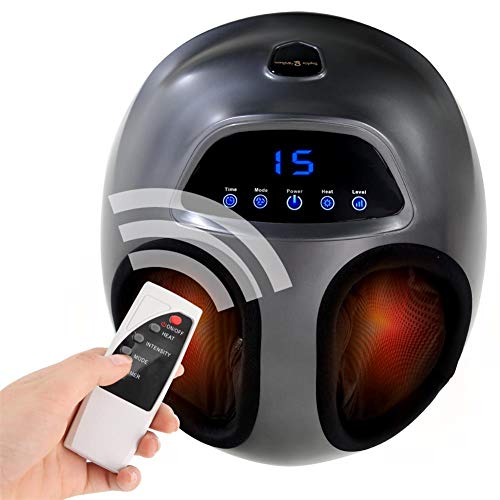 Sophia & William Foot Massager Shiatsu Electric Feet Massage Machine with Remote Control Infrared Heating Rolling Deep Kneading Air Compression for Plantar Fasciitis Home Office