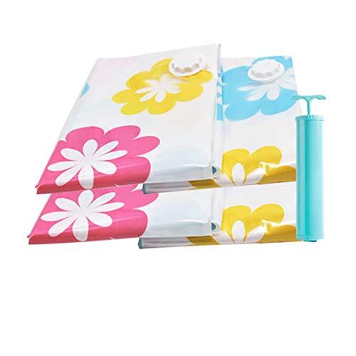 Paquete de 4 bolsas de almacenamiento al vacío engrosadas para bolsa organizadora de ropa con bomba Bolsas de espacio de ahorro de viaje comprimidas (60 * 80 cm)