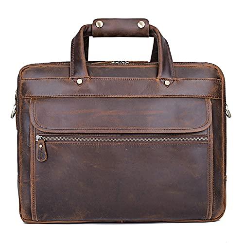 Bolso bandolera para portátil de 15,6 pulgadas, bolso bandolera para hombre, bolso bandolera de piel de vacuno, para negocios, oficina, trabajo, PC, Netbook, clásico, elegante V