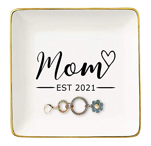 Topthink Baby Announcement -New Pregnancy Gift for New Mom-Pregnancy Congratulations Gifts for First Time Mom -Expecting Mother to be Gift -Ceramic Jewelry Holder Ring Dish Trinket Box Tray
