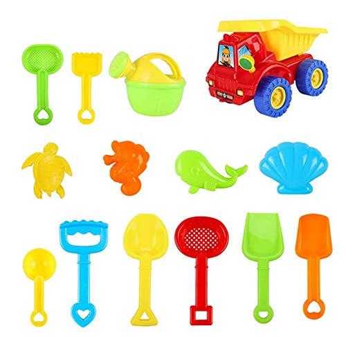 14 stycken barn strand sandleksaksset, barn sandspel set, sandlåda leksak med fyrhjulingvagn, strandleksaker sand och vattenleksaker set för barn från 3 år