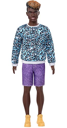 ​Barbie Ken Fashionistas Doll #153 With Sculpted Dreadlocks Wearing Blue Animal-Print Shirt, Purple Shorts & Boots, Toy For Kids 3 To 8 Years Old