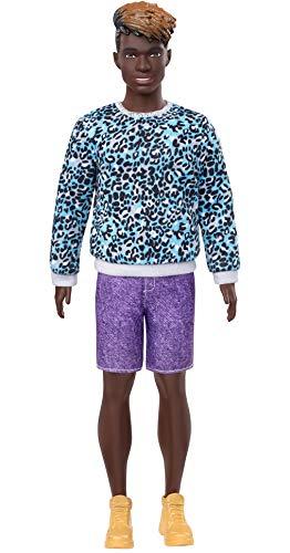 Barbie GHW69 - Barbie Ken Fashionistas Puppe 153 (Dreadlocks) mit türkisem Pullover im Leopardenmuster