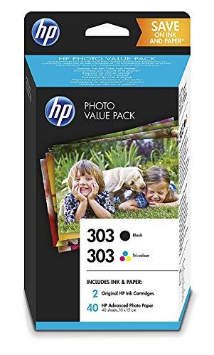 HP 303 Pack Economique 2 Cartouches d'Encre Authentiques Noire et Trois Couleurs + un Pack de 40 feuilles de Photo 10x15 cm (Z4B62EE)