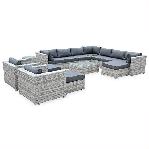 Mueble de Jardin, Conjunto Sofa de Exterior, Ratan Sintetico, Resina Trenzada - Varios Tonos de Gris - 13 plazas - Tripoli