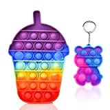 Push Pop Bubble Fidget Sensory Toy Boys Girls Stress Anxiety Relief Animal Keychain Toys for Autism ADHD Kids Toddlers Adult Silicone Squeeze Office Desk Hand Cheap Pack Gift Set 2 Milk Tea Rainbow