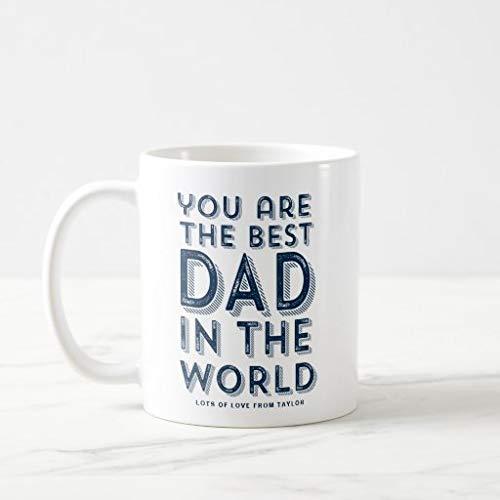N\A Taza, Mejor papá del Mundo, Taza de café rústica Azul del día del Padre, Tazas de café novedosas, Blanco, 11 oz, Fabricado en EE. UU.