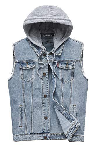 Heihuohua Men's Casual Button-Down Denim Vest Trucker Jean Jacket with Hoodie (Large, Denim Blue)