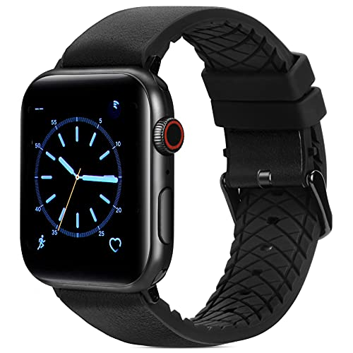 FITWORTH High End Hybrid Band Compatible with Apple Watch Band 42mm 44mm, Silicone + Genuine Leather, Simple, Neat & Sweat Resistant, Suit for Men's Business Casual & Light Sports (Black, 42/44)