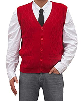 TINKUY PERU - Peruvian Alpaca Wool - Men´s Knitwear V-Neck Jacquard Vest Sweater Waistcoat - Red (Large) from