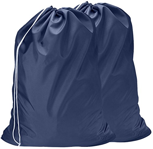 Nylon Laundry Bag - Locking Drawstring Closure and Machine Washable. These Large Bags Will Fit a Laundry Basket or Hamper and Strong Enough to Carry up to Three Loads of Clothes. (Navy Blue   2-Pack)