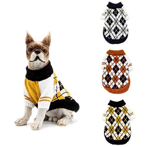 G/N Jersey para Perros, Cálido Suéter para Mascotas de Inviern, Abrigo Punto para Perros Pequeños, Medianos, Grandes, Gatos-Yellow||L
