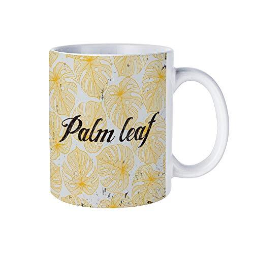 Taza de café de cerámica con diseño floral de hoja de palma, color amarillo, taza personalizada, regalo personalizado para marido, papá, mamá, abuelo, abuela