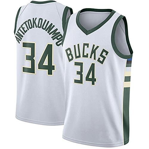 Camiseta De La NBA, Ropa Deportiva Al Aire Libre Superior Sin Mangas del Swingman del Baloncesto, Uniforme del Fan De Los Bucks # 34
