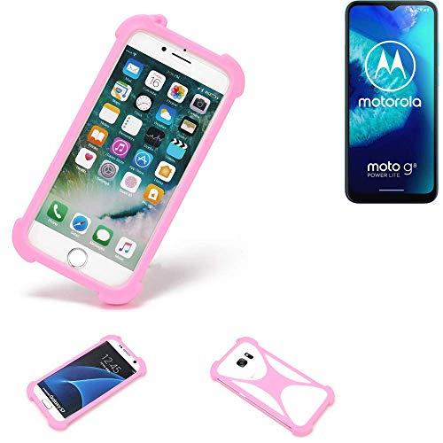 K-S-Trade Handyhülle Für Motorola Moto G8 Power Lite Schutzhülle Bumper Silikon Schutz Hülle Cover Case Silikoncase Silikonbumper TPU Softcase Smartphone, Pink (1x)