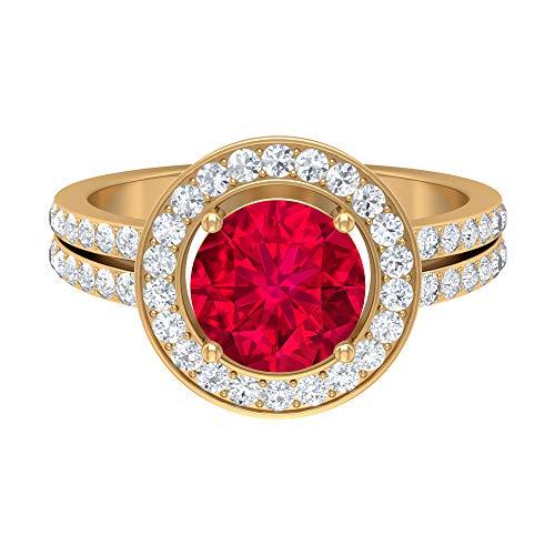Rosec Jewels 14 quilates oro amarillo redonda round-brilliant-shape H-I Red Diamond Rubí, relleno de vidrio