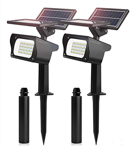 Luces Solares Led Exterior MEIKEE 40 LED Focos Solares Jardín Impermeable IP65, 3 Colores Lamparas Solares, Luces Solares Mejoradas con Doble Panel Solar, para Cesped, Camino, Piscina y Patio - 2 Pack