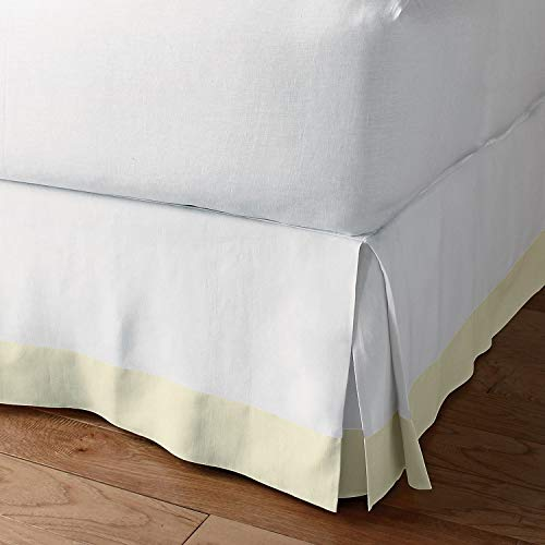 Classic Box Pleated Bed Skirt Dust Ruffle Tailored Styling (White/Ivory,Cal-King - 16' Drop)