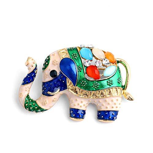 2 Piezas de Esmalte Pintado Animal Broche Estilo exótico simulación Elefante Color Broche de Diamantes de imitación