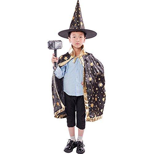 INLLADDY KostüM Unisex Kinder Umhang Mit Sternen Und Pailletten + ZipfelmüTze Wizard Hat Halloween KostüM Schwarz Umhanglänge: 90cm