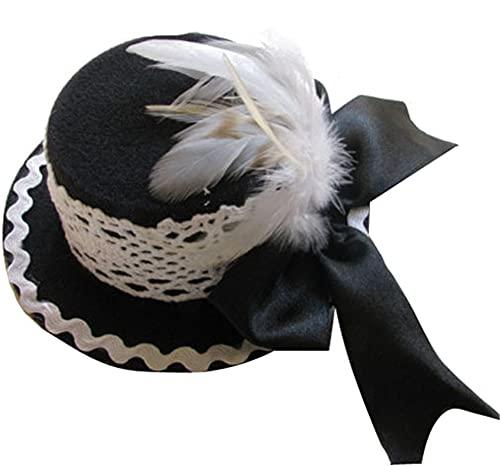 Black Sugar - Mini sombrero de decoración para el pelo, boda, ceremonia,...