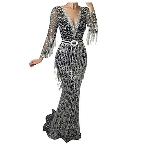 Writtian Damen Kleid Elegant Tiefer V-Ausschnitt Abendkleider Cocktailkleid Glänzend festlich Partykleid mit fransen Sexy Maxikleid