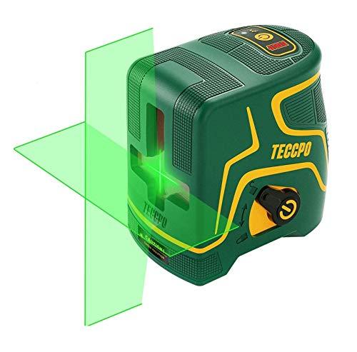 Kreuzlinienlaser Grün 30m TECCPO, USB Aufladung, Innendekoration, Selbstnivellierenden und Pulsfunktion, Magnethalter, 120° Horizontal und Vertikal, 360° Drehbar, IP54, Schutztasche - TDLS09P