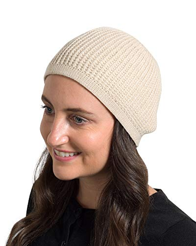 SnugZero - 100% Cotton Over-The-Ear Beanie Kufis with Ribbed-Knit in Solid Colors   Great for Daily Wear and as a Chemo Hat (Cream)