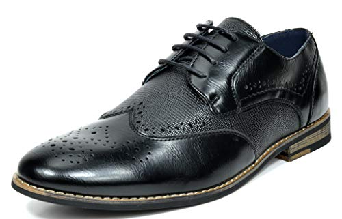 Bruno MARC FLORENCE Men's Oxford Modern Classic Brogue Lace Up Leather Lined Perforated Wing-tip Dress Oxfords Shoes Black Size 10